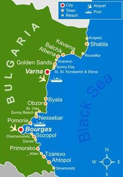 Карта морских курортов Болгарии