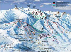 Боровец-схема, горнолыжный курорт, зимний отдых Болгария