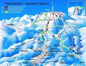 Схема лыжных трасс Пампорово, зимний отдых, Болгария