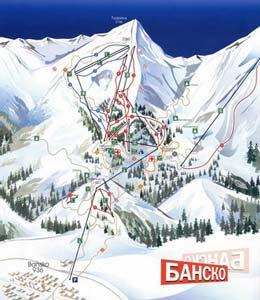 Схема Банско, Банско-горнолыжный курорт, отдых в Болгарии, зимний отдых